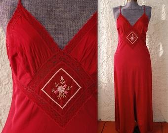 Vintage 1970s Merlot Maxi Nightgown - Medium