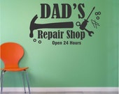 Dad's Repair Shop Decal, Vinyl Wall Lettering, Vinyl Wall Decals, Vinyl Letters, Vinyl Lettering, Wall Quotes, Garage Sign, Garage Decal