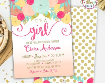 Girl Baby Shower Invitation, Watercolor Floral Baby Shower, Girl Shower, Floral Baby Shower, Whimsical Baby Shower, Printable Invite