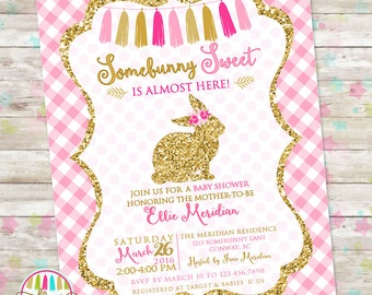 Bunny Baby Shower Invite, Easter Baby Shower Invitation, Easter Printable Invite, Pink and Gold, DIY Printable, Spring Baby Shower