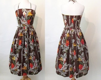 Lovely 1950's Hawaiian Cotton Print Halter Sun Summer Dress w/ Tropical Flowers & Sequin Accent Rockabilly Tiki Oasis Pool Party Size-Small