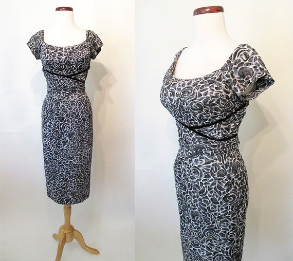 CLEARANCE Charming 1950's Cotton Summer Cocktail Party Dress w/ Rhinestones Rockabilly VLV Pinup Girl Shelf Bust Hourglass Size-Medium