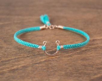 Horseshoe Bracelet - 14k Rose Gold Fill  - Choice of Silk Color