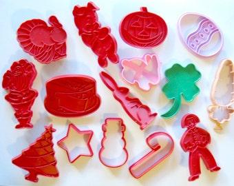 Vintage Tupperware Cookie Cutters, Plastic Holiday Cookie Cutters, Vintage Wilton Cookie Cutters, Halloween Christmas Easter Cookie Cutters