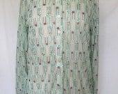 1970s Semi-Sheer Blouse, Polyester, Blue Brown Print, Medium Large