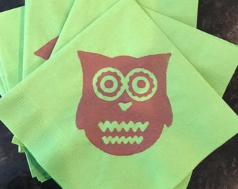 Owl Paper Napkins - Cocktail/Luncheon/Dinner Size - Set of 24