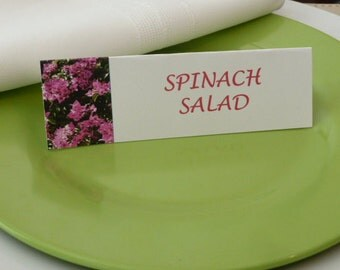 Place Cards, Name Cards, Food Tents- Pink Azaleas - Set of 6- Wedding, Shower, Dinner Table Decor