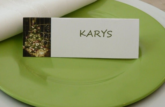 Place Cards/ Name Cards/ Food Tents - Christmas Tree - Set of 6- Christmas Dinner Table Decor