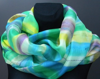 Cool & happy multicolored striped art silk scarf, hand painted in yellow, green, purple, white, and turquoise blue. OOAK, good energy ;)