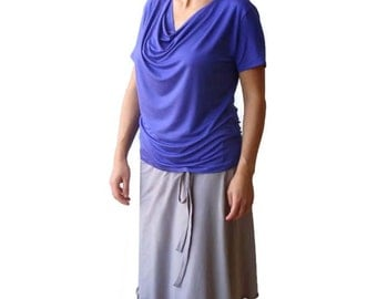 Custom cowl top, Short sleeve top, Summer blouse, Violet top, Custom clothing, Made to order top, Plus size tops/tees with cowl neck
