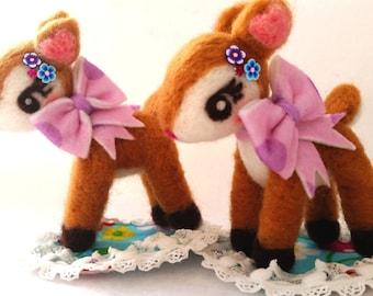 Free Shipping, Needle Felt Deer Doll, Kawaii Deer Doll, Deer Doll, Lavender Polka Dot Ribbon Deer Version, Hummingmint Needle Felt Figure
