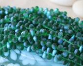 6x4mm Glass Teardrop Bead - Jewelry Making Supplies -  Matte Emerald Green AB Tear Drop Bead 4x6mm (100 Beads)