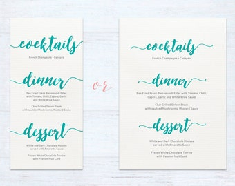 Menus – Watercolour