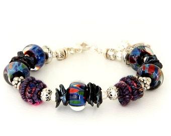 Midnight Blue Glass Bead Bracelet. Colorful Artisan Fiber Beads. Fiber Bead Bracelet. Boho Gypsy Bracelet. Gifts For Her. Lampwork Jewelry.