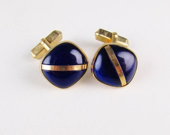 Vintage Cuff Links: Swank Blue and Gold