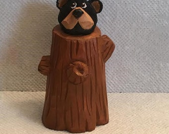 Hand Carved Bear Cub In Tree Stump Wood Carving Cabin Decor Home Decor Art Sculpture