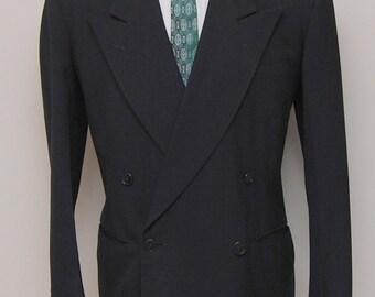 1930-40s mens custom black double breasted blazer/ 30-40s black blazer