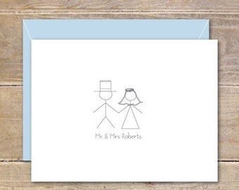 Stick Figure Wedding Thank You Cards, Stick Figures, Bridal Shower, Thank You Cards, Stick Figure Bride And Groom, Stick Figure Cards