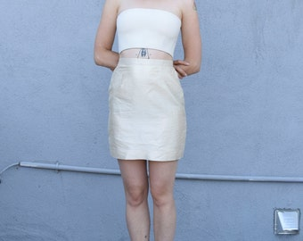Vintage Raw Silk 1990's Minimalist Ivory Cream High Waisted Mini Skirt S/M 27