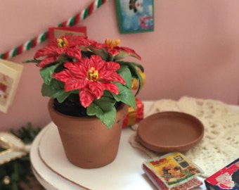 Miniature Poinsettia In Terracotta Flower Pot With Removable Saucer Dollhouse 1:12 Scale Miniature Flowers, Holiday Decor, Accessory