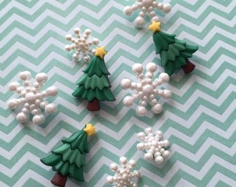 Christmas Trees and Snowflakes Packaged Buttons by Buttons Galore Style #4780 Christmas Sparkle