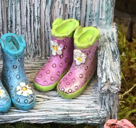 Miniature Rain Boots, Wellies, Purple With Green Soles, Fairy Garden Accessory, Home and Garden Decor, Dolls and Dollhouses