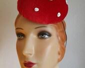 Red Toadstool Mushroom Pillbox Hat burlesque circus costume