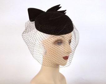 Vintage 1980s Veiled Black Hat, Winged Black Bow, Rhinestone Detail, Zigzag Trim, Madame Angelo