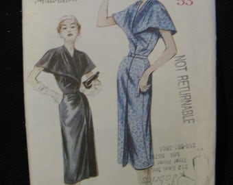 Retro Butterick '53 Pattern 6928, Mock Wrap A-Line Dress, Sizes 6 8 and 10,  UC FF