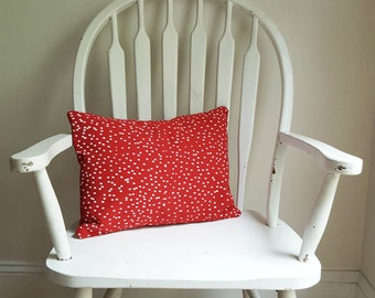 """Red Snow Dots Christmas Holiday Seasonal Decor Pillow Cover 12"""" x 16"""" Cotton Canvas Washable Winter Decorative Made in Nashville Tennessee"""