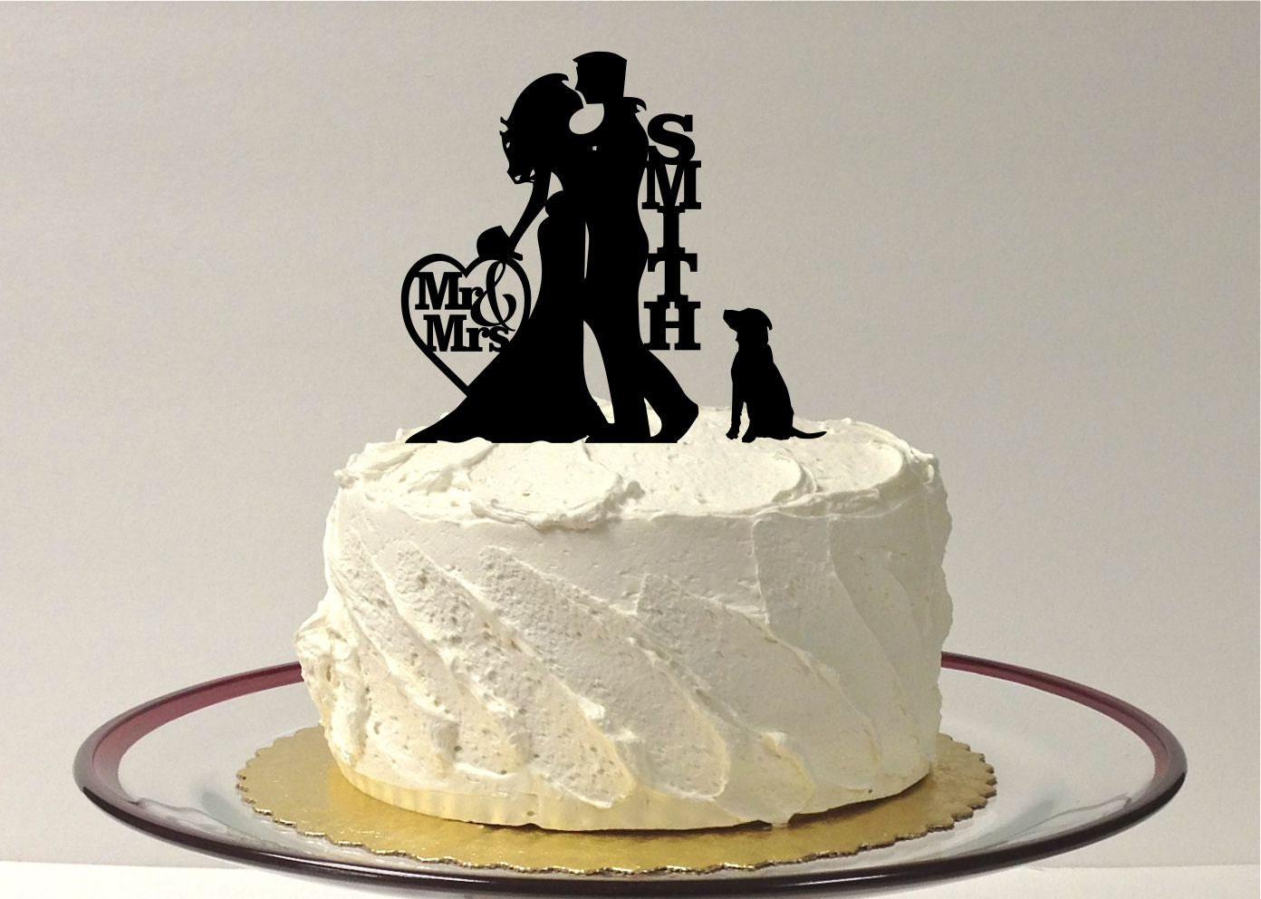 MADE In USA Silhouette Wedding Cake Topper with Dog Wedding