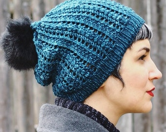 Worsted weight Popcorn Lace Hat knitting pattern PDF slouch hat