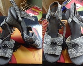 40s 50s Raffia Sea Shell Wedges Grey Heels size 6 - 6.5 N Shoes