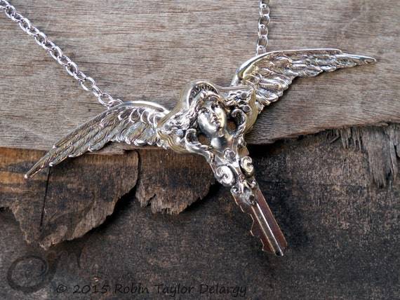 Masthead Maiden Winged Key Necklace in Silver Plated Brass, on Stainless Steel Chain ~ #N0617 by Robin Taylor Delargy