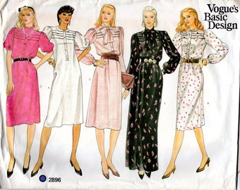 1980s Dress with Tucks - Vintage Pattern Vogue 2896 - Bust 32 UNCUT FF