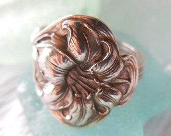 Antique Spoon Ring  Sterling Silver  Lily    Size 7.5