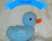 Crochet  Blue Duck Crochet Rubber Ducky Handmade Baby Duck