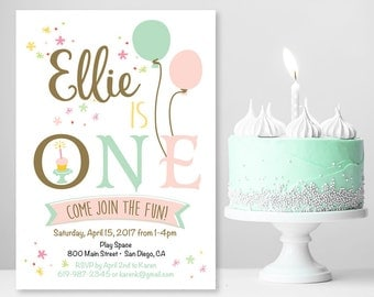 first birthday invitations / 1st birthday photo invitation / 1st birthday invitation girl / printable invitation / printed invitations