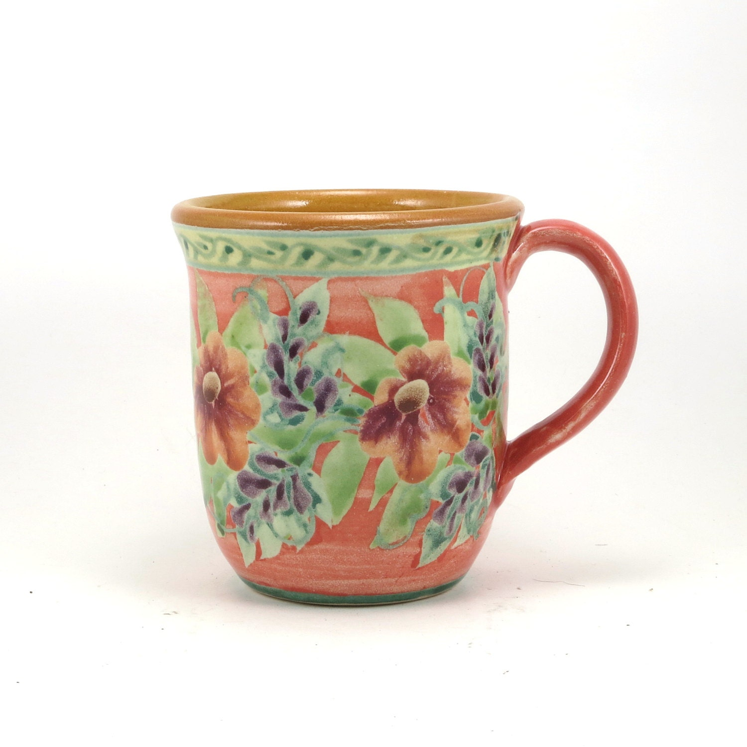 Orange coffee mug handmade porcelain tea cup floral design for Handmade mug designs
