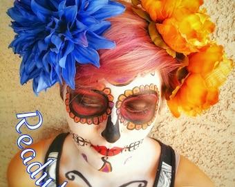 Flower Combs Large Day of the Dead Dia De Los Meurtos Flower Skulls Skeleton Catrina Headdress