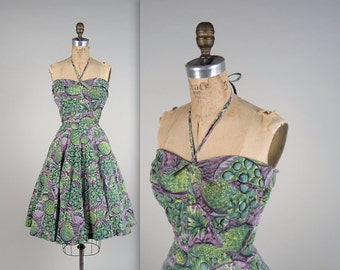 1950s pineapple print dress • vintage 50s dress • summer halter dress