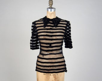 Do not buy ***** SOLD ON LAYAWAY ******* 1930s stripe sheer blouse • vintage 30s top • illusion deco shirt