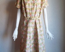 Vintage 50s Modern Classics Floral Maze Print Cotton Day Dress VOLUP Sz 20.5 XXL