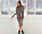 Winter Dress /  Casual Dress / Day Dress / Knit Dress / Black Dress / Extravagant Tunic / Midi Dress / marcellamoda - MD371