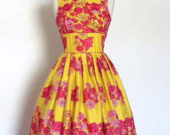 Amazing Pink and Yellow Lace Tiffany Prom Dress - Made by Dig For Victory