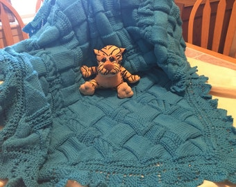 Knitted Entrelac Baby Blanket