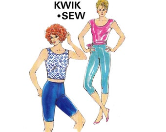 Kwik Sew 1679 Womens Stretch Tights & Tops Exercise Dance Work Out Wear 80s Vintage Sewing Pattern Sizes XS - L UNCUT Factory Folds