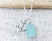 Seaglass Necklace, Anchor Charm Necklace, Genuine Seafoam Seaglass, Bridesmaid Necklace, Beach Wedding Jewelry, Seaglass Jewelry, Sea Glass