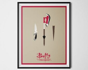 Buffy the Vampire Slayer Poster Minimal Art Print Scythe Knife Wooden Stake Buffy Wall Art 90s TV Show Minimalist Digital Art Buffy Poster