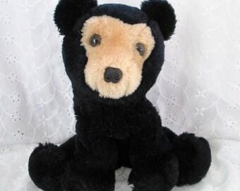 Vintage Dakin Plush Black & Tan Bear Bean Bag Bear 1978